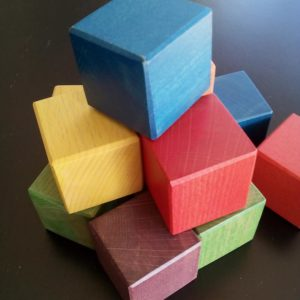 A pile of wood blocks