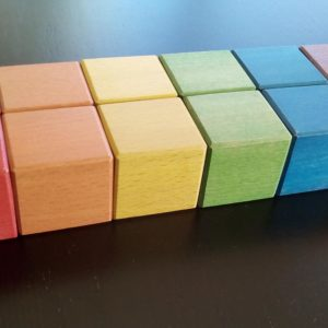 Beech wood cubes for Montessori activities made for our children