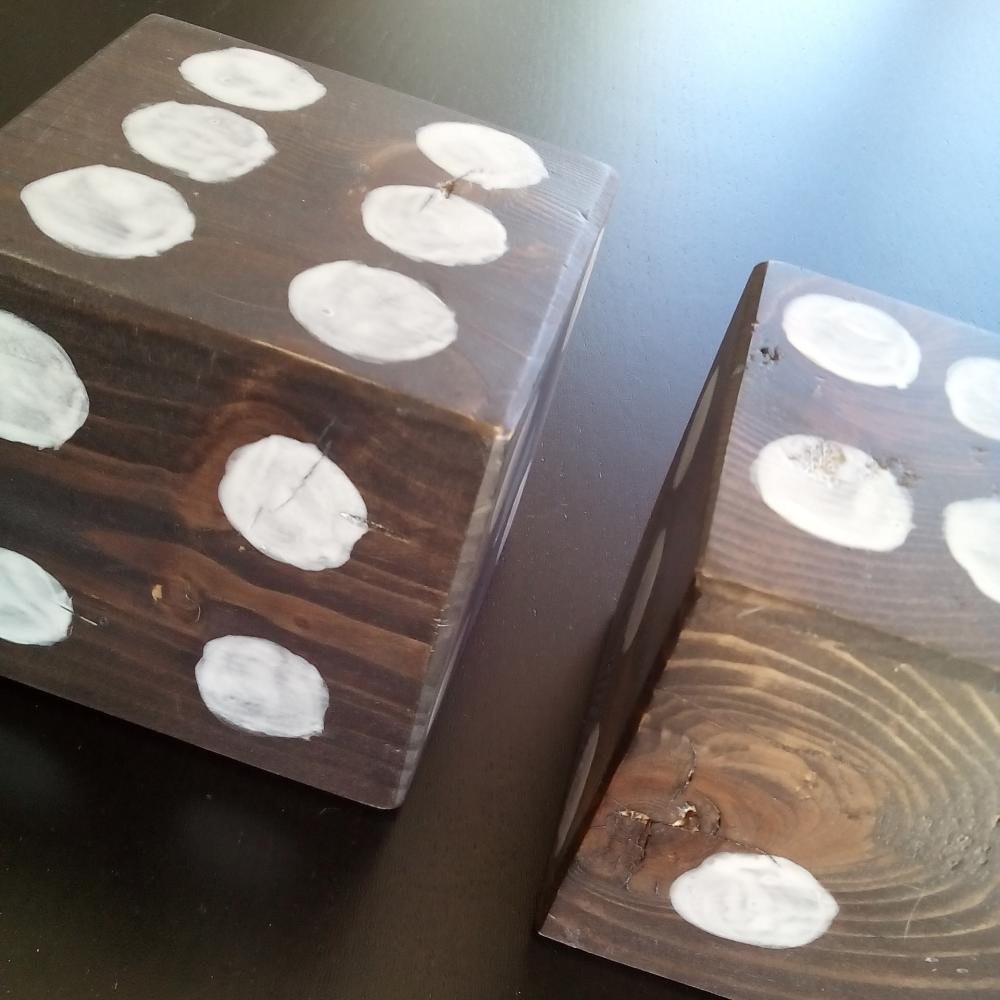 pine wood scraps transformed into giant dice