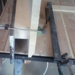 the front edge of the ergonomic tabletop was cut using the table saw and an additional board