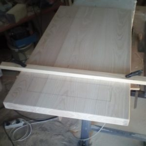 I marked the two slots I had to cut for the concrete legs of the coffee table
