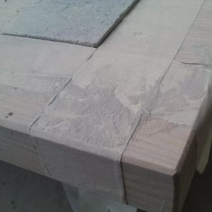 painter tape was used to protect the ash table top panel