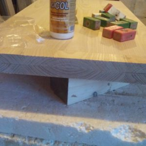 when building the wooden top of the concrete coffee table, we turned the cut strip so the end grain pattern to match perfectly