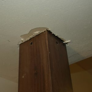 four screws helped secure the coat rack to the ceiling