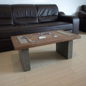 the way our wood and concrete coffee table looks