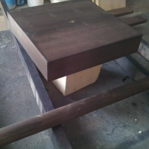 I stained with wenge water-base stain the base and the rod because they match both the toilet paper holder and the beech wood towel hangers