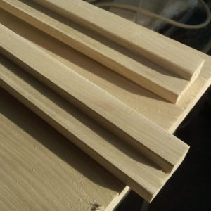 the mirror frame boards were first sanded and then cut to a 45-degree to simplify the sanding operation