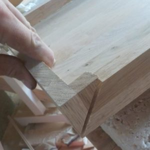 I verified the piece cut at 45 degrees angle from the oak wood countertop, bought from the DIY store