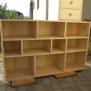 this storage furniture was built for storing and organizing the shoes and was made out of solid pine wood panels