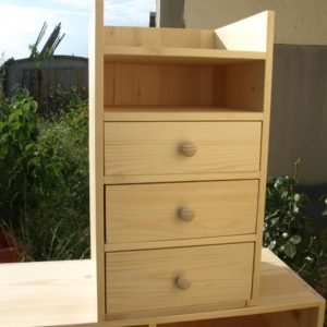 the DIY wooden cabinet has 3 special drawers for storing toys