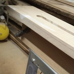 we fixed with some clamps the plywood template in order to mill the edges of the channels so that we can do repeated identical millings