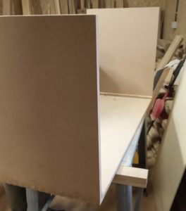 this is how the MDF bathroom vanity cabinet looks after the box joints has dried