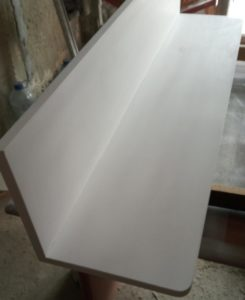 I used white paint with hardener for increased the resistance of the bathroom vanity cabinet due to the easily modifiable humidity conditions