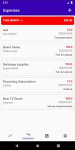 the list of the current expenses and their total value, in the Simple Income and Expenses Tracker app