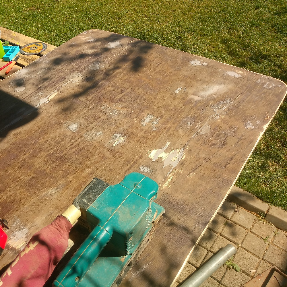 sanding the backboard after the two part filler hardened