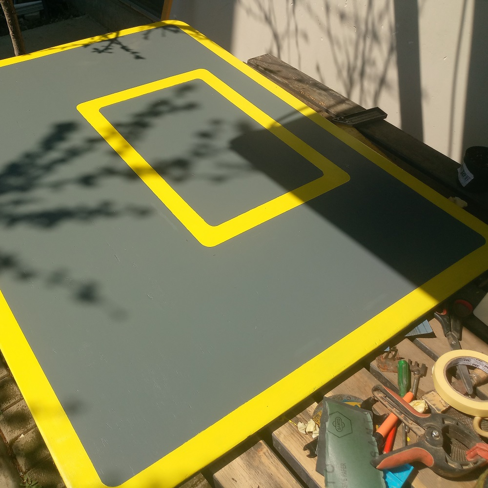 the look of the basketball backboard after removing the painter tape