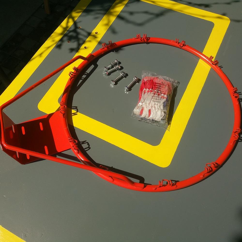 the basketball hoop and DIY backboard