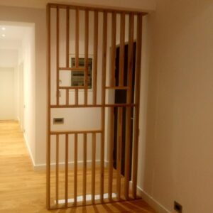 this is the wooden room divider made by using the drilling jigs for dowel joints