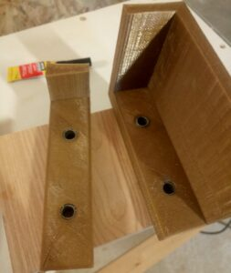 two 3d printed jigs needed for dowel joints, so we can build a room divider