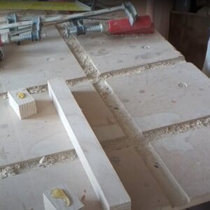 polyurethane adhesive was used in order to stick the three pieces of ash wood