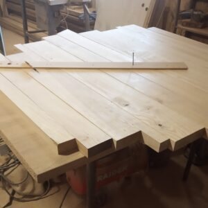drawing the circle on the ash wood boards before gluing them up