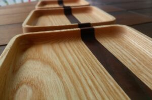 a detail with the fine finish of our DIY decorative trays