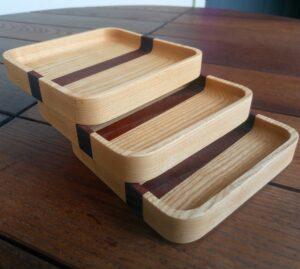 the three square decorative ash wood trays