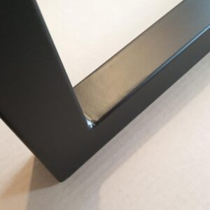 a small detail of the corner welding after we finished the metal frame with black polyurethane paint
