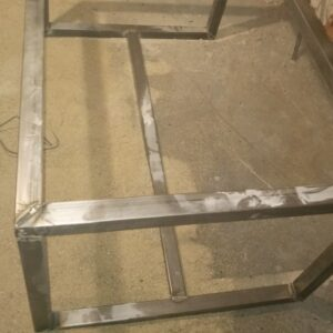 the way the desk metal frame looks like after welding