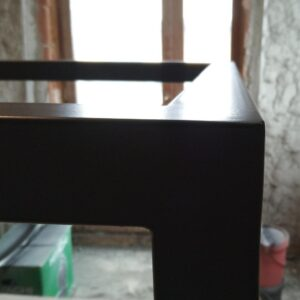 the way the metal frame looks after the black polyurethane paint has dried