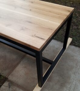 we installed the oak wood desk top with screws to the metal frame
