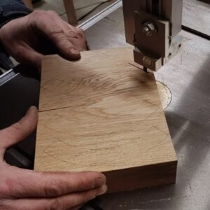 I cut out the pieces of oak wood needed for building the cylindrical frame