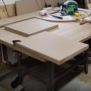 we cut all the MDF boards to the needed dimensions before started to build the small bathroom cabinet