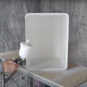 we painted the inside of the MDF boxes and the routed edges with white water based paint