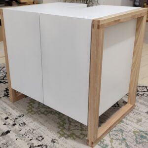 the final result: white and ash wood bathroom cabinet