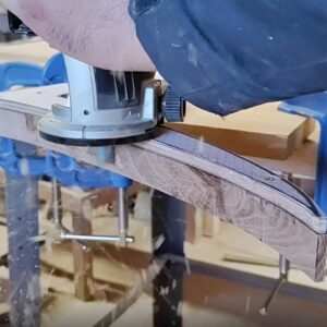 """I used a flush trim pattern router bit and the playwood template to route the oak wood """"check box"""" sign"""