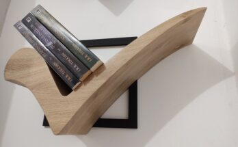 a creative design of wooden floating bookshelves
