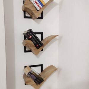 creative floating shelves made out of oak wood