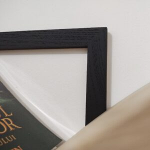 the black square frames of the wall mounted bookshelves were painted with black matte paint