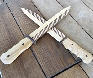 this are our decorative knives made out of ash wood and thermally treated ash wood