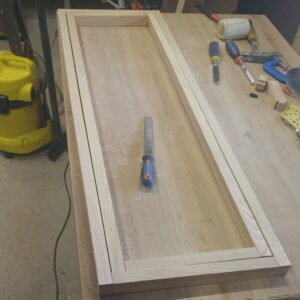 these are the two laminated ash wood frames needed to build the simple folding towel rack