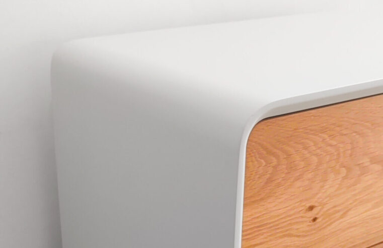how we rounded the outer corners of a mid century nightstand