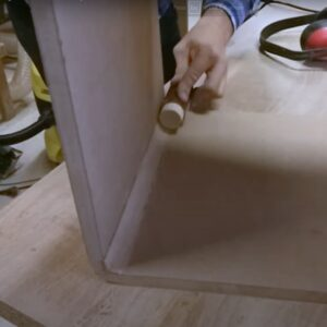 we sanded the inner corner of the corners using a piece of round rod as a support for the sandpaper