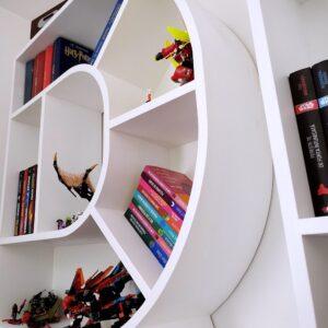 creative bookshelf design with curved edges